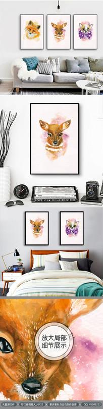 水彩动物文艺手绘无框画装饰画