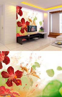 水彩泼墨花朵背景墙