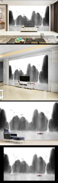 水墨山水画电视背景墙