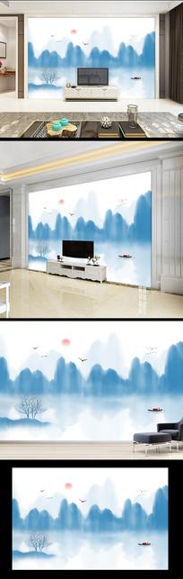 水墨山水画电视沙发背景墙