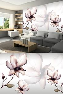 透明花朵花纹背景墙