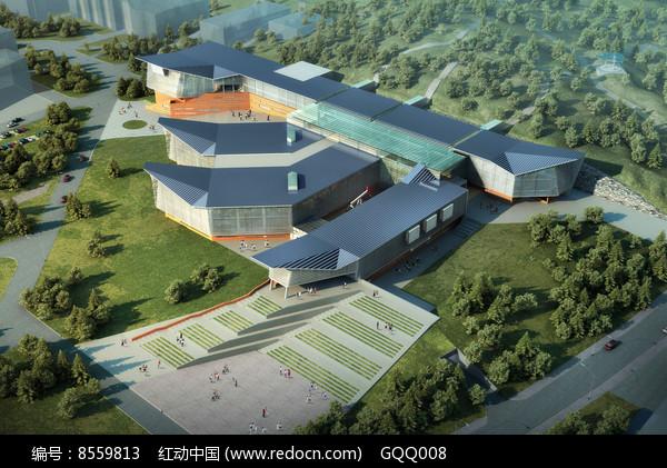 图书馆外观日景鸟瞰图图片