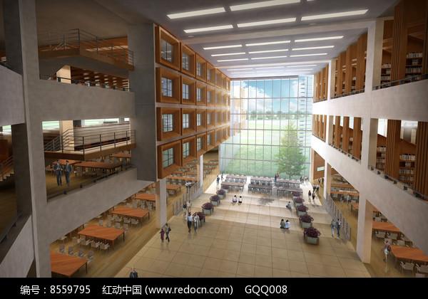 图书馆学习空间中庭效果图图片