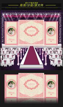 唯美粉色浪漫婚礼主题舞台背景 EPS