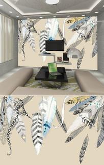 现代简约羽毛背景墙