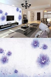现代简约紫色花朵树叶背景墙