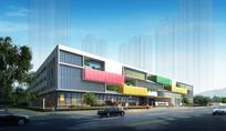 小学校园建筑外观透视图 JPG