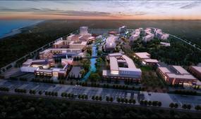 校园规划设计整体鸟瞰图