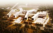 校园建筑方案鸟瞰图 JPG