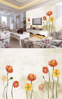 油画花朵花卉底纹背景墙