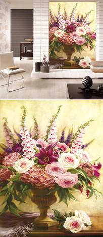 油画玫瑰花尊背景墙