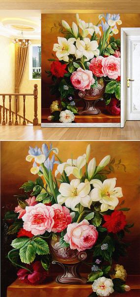 油画牡丹百合背景墙