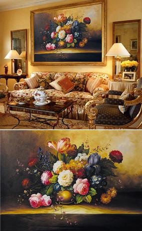 油画牡丹玫瑰花朵背景墙