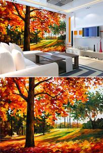 油画秋天大树落叶背景墙