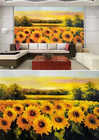 油画向日葵背景墙 JPG