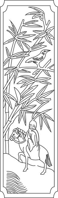 竹子美猴王白马雕刻图案