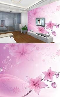 紫色百合花底纹背景墙