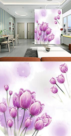 紫色郁金香水珠背景墙