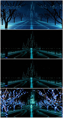 创意梦幻古堡光效闪烁变幻素材