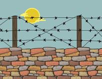 第一次世界大战铁丝网战壕插画