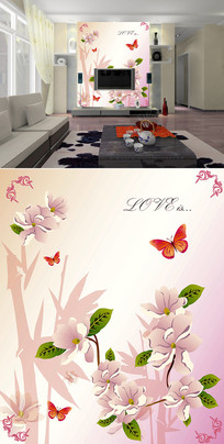 花朵蝴蝶花边玄关背景墙