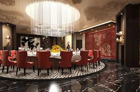 酒店古典中式餐厅豪华包厢