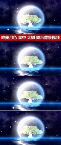粒子星空月色大树婚礼背景视频