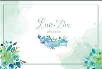 森系绿色手绘水彩婚礼迎宾背景