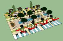 特色商业住宅区内景观SU模型