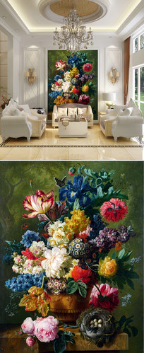 油画花朵花卉玄关背景墙