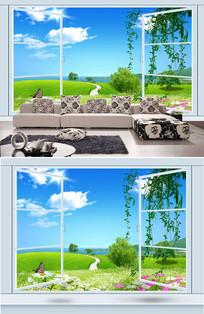 3D立体窗户花丛草地背景墙