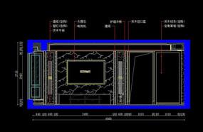 别墅石材造型电视墙立面图 CAD