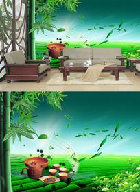 茶道竹子竹叶背景墙