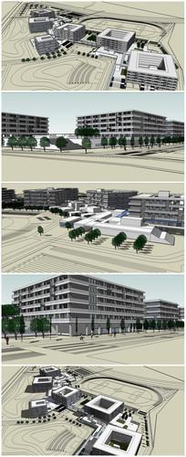 大学教学楼及综合楼SU模型