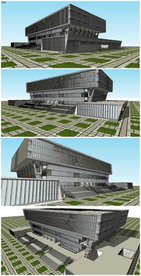 大学教学楼图书馆SU模型 skp