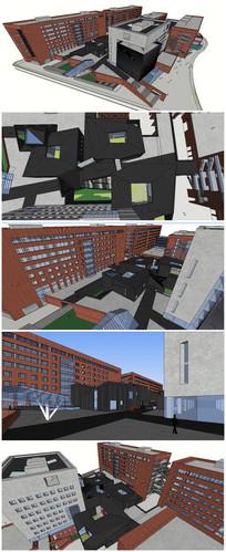 大学图书馆建筑SU模型