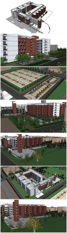 大学校园规划SU模型