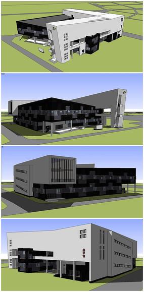 黑白风格中学教学楼SU模型