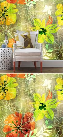 花朵线条背景墙