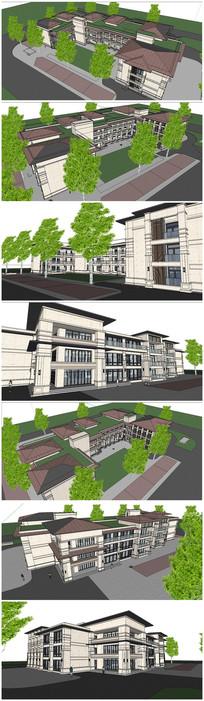 教学楼建筑SU模型 skp