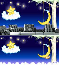 卡通月亮星星大树背景墙