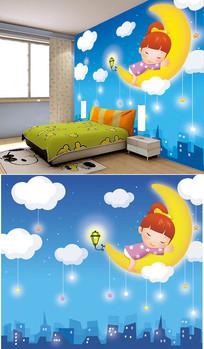 卡通月亮云朵小女孩背景墙