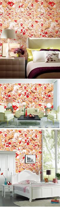 美式田园淡雅花朵花纹墙纸