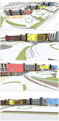 某现代风格彩色教学楼SU模型