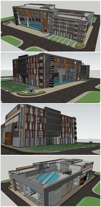 某校园教学楼建筑SU模型