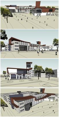 某校园食堂建筑SU模型
