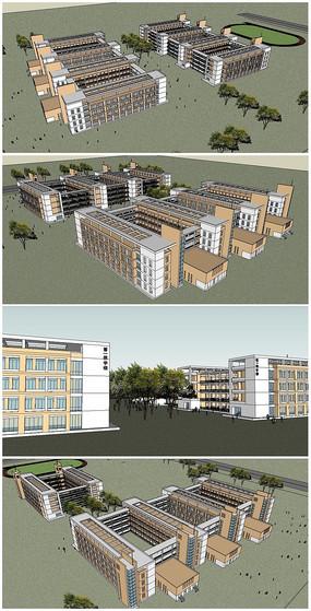 某校园宿舍楼整体建筑SU模型