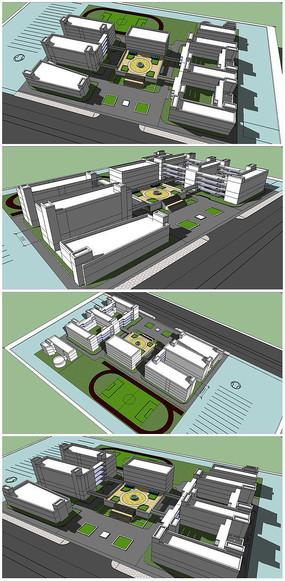 某校园整个建筑SU模型