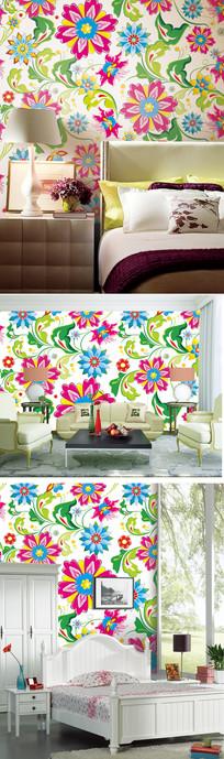 欧式花朵花纹墙纸