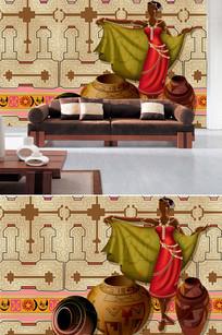 欧式人物陶罐底纹背景墙